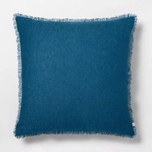 Hearth & Hand™  Raw Edge Throw Pillow, Navy Blue